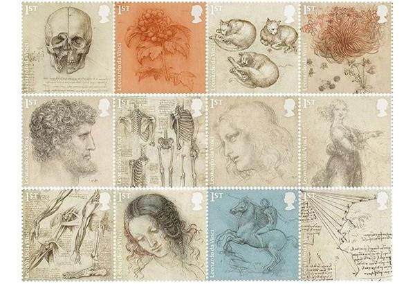 Οι Βρετανοί τιμούν τον Λεονάρντο ντα Βίντσι 500 χρόνια από τον θάνατο του με 12 γραμματόσημα