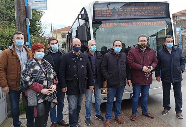 Στο λεωφορείο της γραμμής 84 ο Π. Τσακίρης - Ξεκίνησε η απευθείας λεωφορειακή σύνδεση της Μυγδονίας με το κέντρο της Θεσσαλονίκης