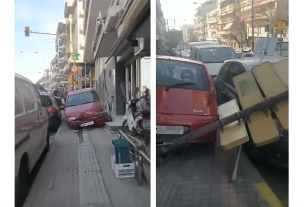 Νέo τρελό τροχαίο στη Θεσσαλονίκη (video) - ανέβηκε στο πεζοδρόμιο και ρήμαξε τα πάντα